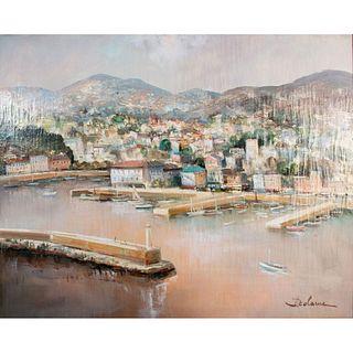 Large Lucien Delarue Painting, Port De Nice, Framed