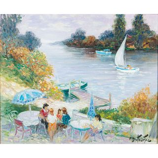 Pierre Eugene Duteurtre Painting, Edge Of The Seine, Framed
