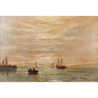 Vintage Seascape Canvas Painting, Framed