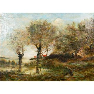 Vintage A. Noble Paint On Canvas, Normandy, Framed