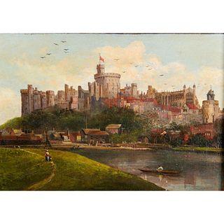 Vintage Windsor Castle Painting, Framed