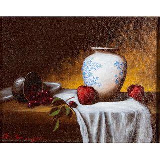 Vintage David Berger American Oil Painting, Fruits, Framed