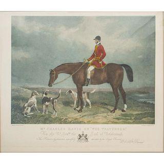 Vintage Equestrian Print, Mr. Charles Davis On The Traverser