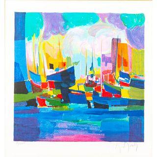 Marcel Mouly Silkscreen Print, Harbor Scene #51 Framed