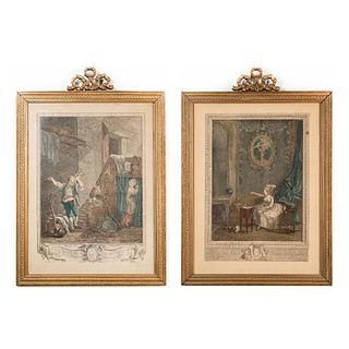 Pair Of French Engraving Art Prints, Framed