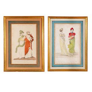 Pair Of John Bell La Belle Assemblee Magazine Prints, Framed
