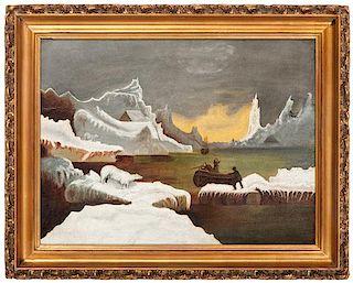 American Folk Art Painting of a Polar Bear Hunt