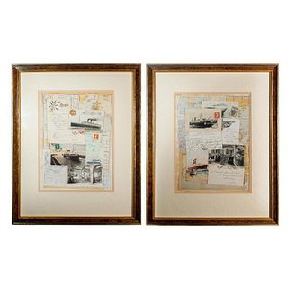 Pair of Vintage Postcards Collage, Framed