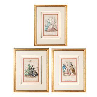 3 Vintage Magazine Fashion Art Prints, Framed