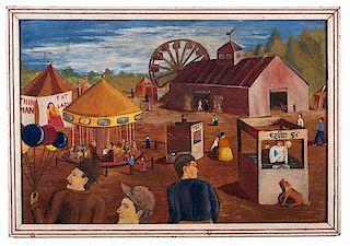 Ohio Folk Art Carnival Painting by Bill Adams