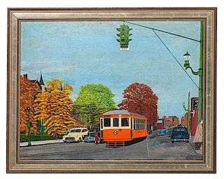 Naive Cityscape with Streetcar