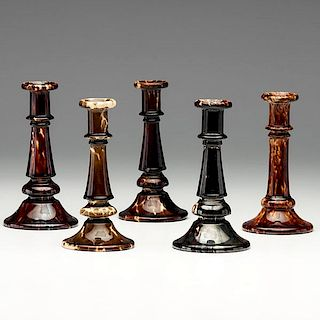 Flint Enamel and Rockingham Glaze Candlesticks