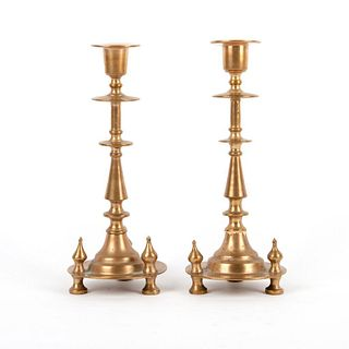 Pair of Antique Bronze Imperial Candle Holders