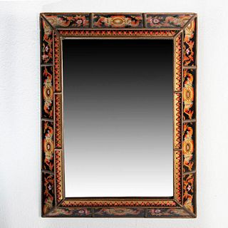 Peruvian Wood and Glass Framed Mirror