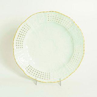 Vintage Meissen Porcelain Lattice Plate With Gold Rim