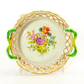 Dresden Porcelain Lattice Dish, Floral Design