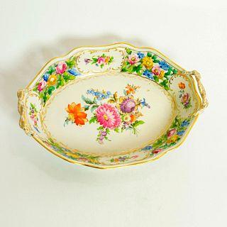 Vintage Dresden Porcelain Dish, Floral and Gold Design