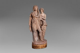 Terracotta sketch depicting a young man and girl in classical clothes, 19th century