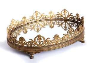 Oval centerpiece in gilded bronze, Charles X, 19th century