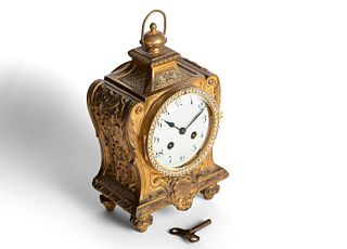 Clock in gilded bronze, 19th century, with zircons around the dial