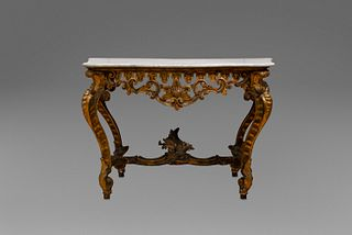 Console in carved, lacquered and gilded wood, with white marble top, 18th century