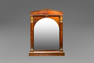 Empire mirror, with pilaster strips on the uprights decorated with sphinxes, 19th century