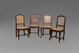 Four wooden chairs and Vienna straw seats, 18th century