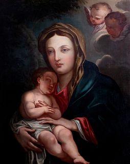 Scuola romana, fine secolo XVIII - Madonna and Child with two cherubs