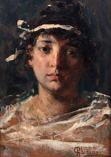 Paolo Gaidano (Poirino 1861-Torino 1916)  - Girl with ribbon in her hair