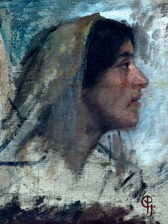 Paolo Gaidano (Poirino 1861-Torino 1916)  - Girl with handkerchief on her head
