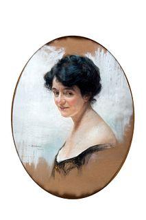 Enrico Arcioni (Spoleto 1875-Roma 1954)  - Portrait of a woman, in oval