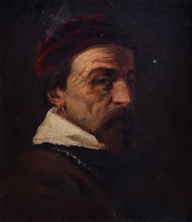 Scuola italiana, secolo XIX - Half-length portrait of a man in a seventeenth-century suit, with a red cap and earring
