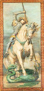 Scuola italiana, fine secolo XIX - inizi secolo XX - St. George and the dragon; and Gallant couple