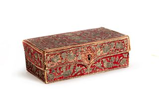 Casket covered in red velvet embroidered with silver thread, Middle East, 18th century