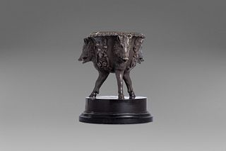 Bronze inkwell with boar heads and masks, 19th century