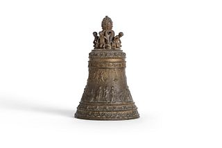 Bronze bell with bas-relief decoration, late 19th - early 20th century