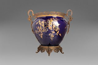 Large blue ceramic vase with bronze applications, late 19th - early 20th century