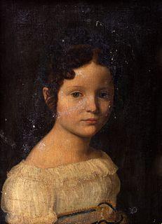 Scuola italiana, inizi secolo XIX - Half-length portrait of little girl in white dress