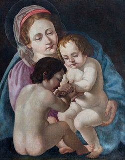 Seguace di Giovan Francesco Barbieri, detto il Guercino - Madonna with Child and San Giovannino