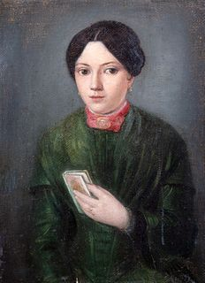 Scuola italiana, secolo XIX - Portrait of young woman with book