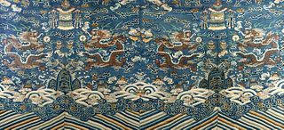 Kesi depicting dragons, waves and clouds, China 19th century