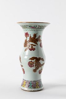 Polychrome porcelain baluster vase with floral motifs, China, Qing period, late 19th century