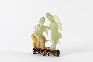 Jade sculpture depicting two female figures, Republic of China