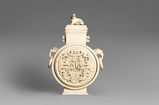 Ivory flask with lid, China, late 19th century