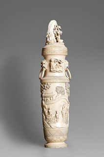 Ivory vase with lid, China, early 20th century