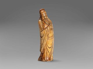 Ivory sculpture depicting a dignitary, China late 19th century - early 20th century