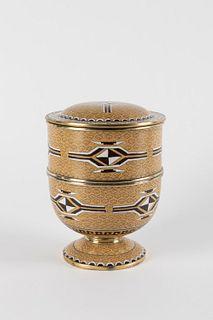 Cloisonné vase with geometric motifs, with lid, Japan, 20th century