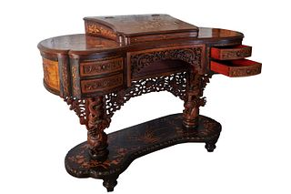 Writing desk in rosewood, mother of pearl and bamboo, with inlaid armchair, oriental art circa 1880-90