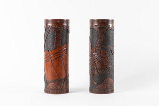 Two bamboo bitongs, depicting Samurai