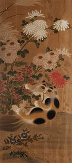 Painting on paper depicting peonies and feline, probably Korea 19th century